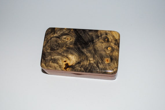 Tiny Wooden Box of Mahogany & Buckeye Burl Handmade by BurlWoodBox - Cute Little  Gift Box !