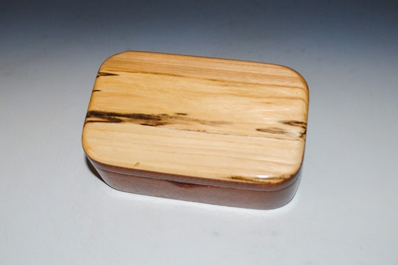 Wooden Trinket Box of Spalted Maple on Mahogany Box- USA Made Small Wood Jewelry Box - Gift For Anyone !