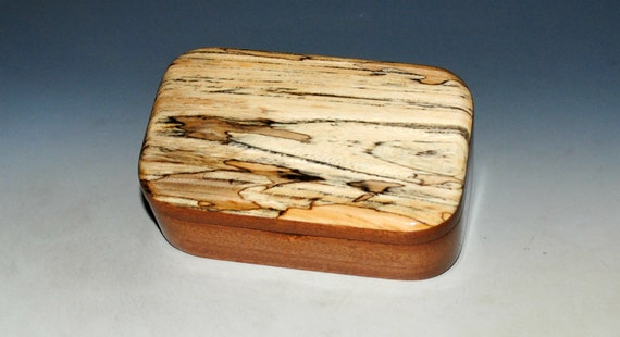 Wooden Trinket Box of Spalted Elm on Mahogany Box- USA Made Small Wood Jewelry Box - Gift For Anyone !