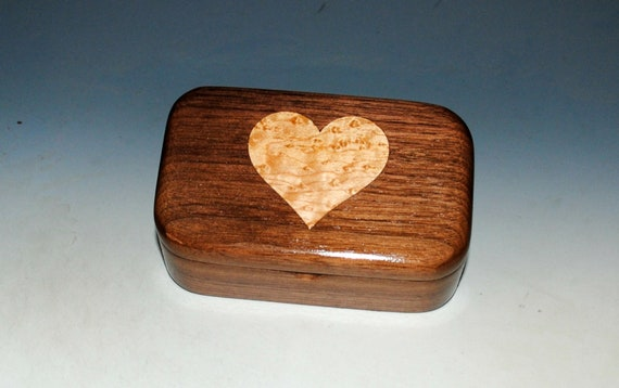 Wooden Trinket Box of Walnut With a Birdseye Maple Heart Inlay Handmade by BurlWoodBox in The USA - Perfect As a Gift For Any Occasion