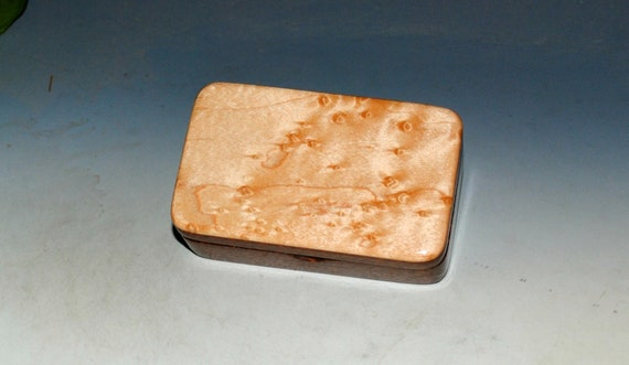Small Wooden Box of Mahogany With Birdseye Maple - Handmade by BurlWoodBox in the USA - Perfect Small Gift