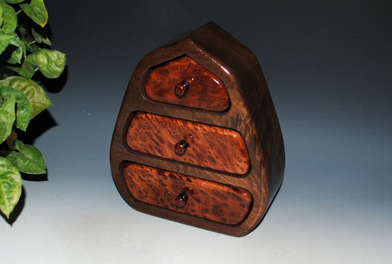 Wooden Jewelry Box of Redwood Burl and Walnut - Three Drawer Pod Style Wood Jewelry Box - Handmade by BurlWoodBox in the USA - Unique Gift!