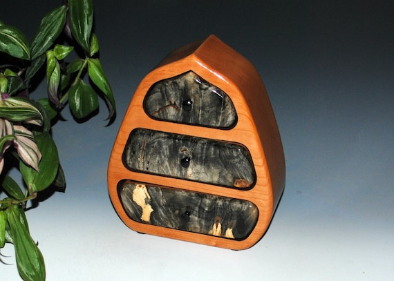 Wood Jewelry Box of Buckeye Burl on Cherry With Drawers by BurlWoodBox - Small Wooden Jewelry Box