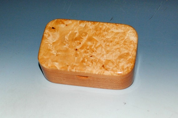 Maple Burl on Cherry Wooden Trinket Box -  Handmade Wood Box With Hinged Lid by BurlWoodBox - Boxes Are Great Gifts!
