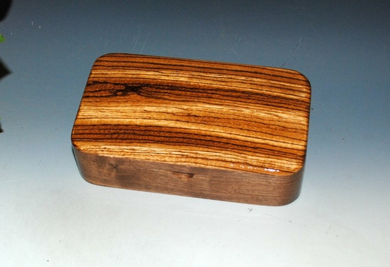 Small Wood Box of Zebrawood on Walnut - Handmade Wooden Box With Hinged Lid by BurlWoodBox - Great Guy Gift ! Box