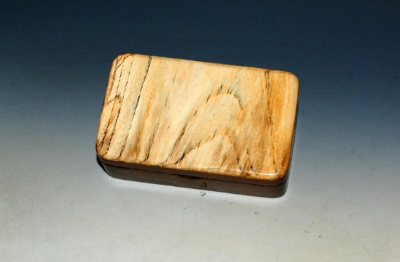 Very Small Wooden Box of Walnut With Spalted Elm Handmade by BurlWoodBox in the USA