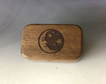Moon & Stars Box Engraved Wooden Trinket Box of Walnut - Small Box With Hinged Lid