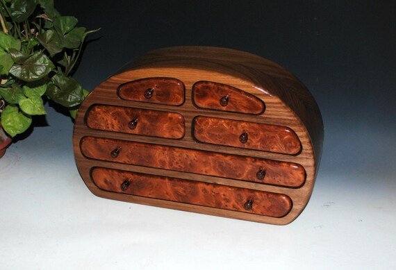 Solid Walnut with Redwood Burl Large Wooden Jewelry Box  by BurlWoodBox - Handmade in the USA