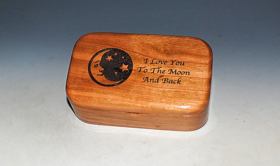 Wooden Box With I Love You to the Moon on Cherry - Handmade Box for Treasures, Jewelry or as a Gift - Moon and Stars Box - Valentine Gift
