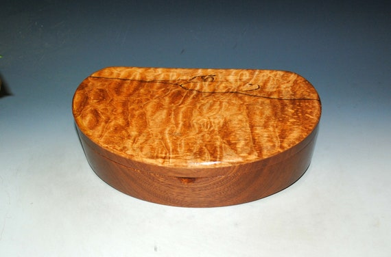 Wooden Box With Tray of Mahogany With Quilted Maple - Handmade in the USA by BurlWoodBox