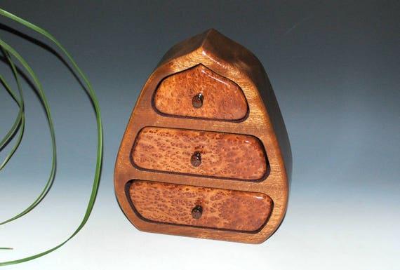 Jewelry Box - Wooden Jewelry Box Pod Style of Redwood Burl And Mahogany - Handmade Wood Jewelry Box, Small Jewelry Box, Gift Box, Wooden Box
