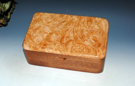 Wood Stash Box of Maple Burl on Mahogany - Wooden Lidded Box by BurlWoodBox With Our Custom Hinges - USA Made Gift