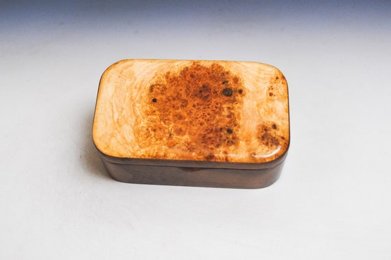 Wooden Trinket Box of Maple Burl on Walnut by BurlWoodBox - This Handmade Small Wood Box With a Hinged Lid is a Nice Gift For Any Ocassion