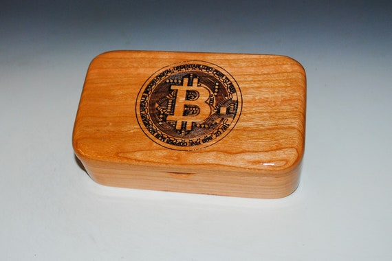 Cherry Treasure Box With Bitcoin Engraving - Handmade in the USA by BurlWoodBox - Great Gift ! Cryptocurrency Present