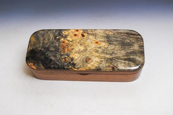 Wooden Pen Box - Handmade Box in Black Walnut with Buckeye Burl by BurlWoodBox - Small Jewelry Box,  Small Wood Box, Wood Pen Box, Desk Box