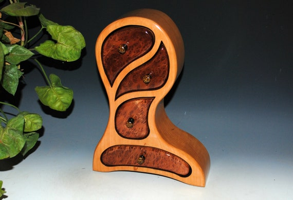 Wooden Jewelry Box of Redwood Burl on Cherry in Our Picasso Style - Handmade Box With Drawers by BurlWoodBox