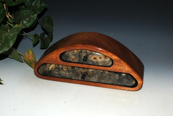 Handmade Wooden Jewelry Box-Wood Jewelry Box-Buckeye Burl on Mahogany Two Drawer Small Jewelry Box-Burl Jewelry Box-Small Wooden Jewelry Box