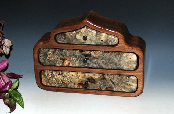 Wooden Jewelry Box - Pagoda Style - Buckeye Burl on Walnut - Handmade Wood Jewelry Box, Burl Jewelry Box, Handmade Box, Gift Box, Wooden Box