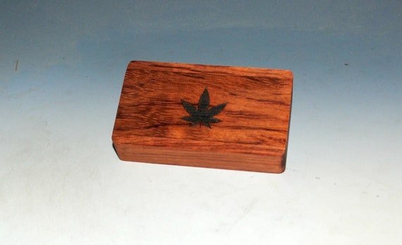 Slide Top Wood Box of Bubinga With Cannabis Leaf Engraved Slide - Food Safe Finish