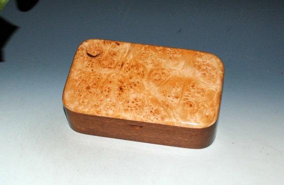 Handmade Wood Treasure Box of Mahogany with Maple Burl  by BurlWoodBox - Wooden Box for Jewelry, Treasures or Keepsakes - Great Gift !