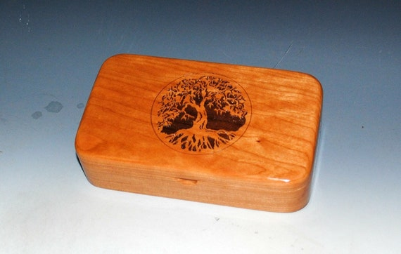 Wooden Box of Cherry With Engraved Tree of Life - Small Stash Box or Jewelry Box - Sacred Tree