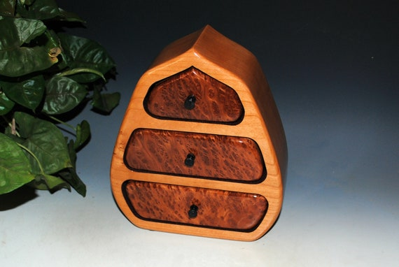 Wooden Jewelry Box With Drawers of Cherry With Redwood Burl - Handmade Wood Pod Style Box by BurlWoodBox - Unique Art That is Functional
