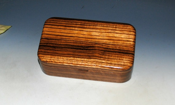 Wooden Treasure Box of Zebrawood on Walnut - Handmade Wood Box by BurlWoodBox - Great Guy Gift !
