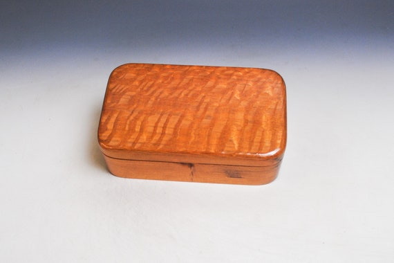 Wooden Box of Lacewood on Cherry  - Handmade Wood Treasure Box With Hinged Lid by BurlWoodBox - SALE - Character Marks on Cherry
