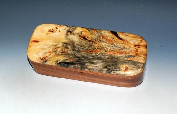 Wooden Pen Box of Buckeye Burl on Mahogany - Handmade Wood Box With Hinged Lid - USA Made by BurlWoodBox - Unique Gift !