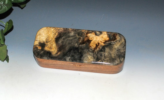 Wooden Pen Box of Buckeye Burl on Mahogany - Handmade in the USA by BurlWoodBox