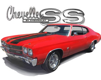 9b37ea14 1970 Red Chevy Chevelle a Custom Hot Rod USA T-Shirt 70 Muscle Car Tees  Herrenmode