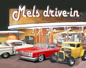Put YOUR CAR at Mels Drive-in Print Art