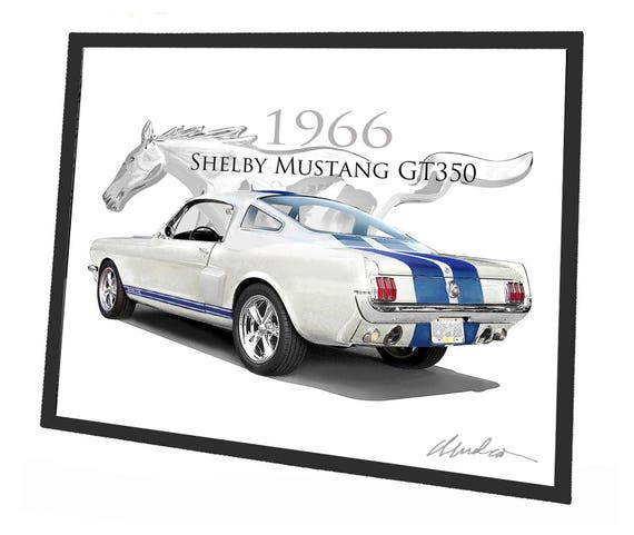 1966 Mustang Shelby GT 350 Car Art Print in Frame Hot Rods | Etsy