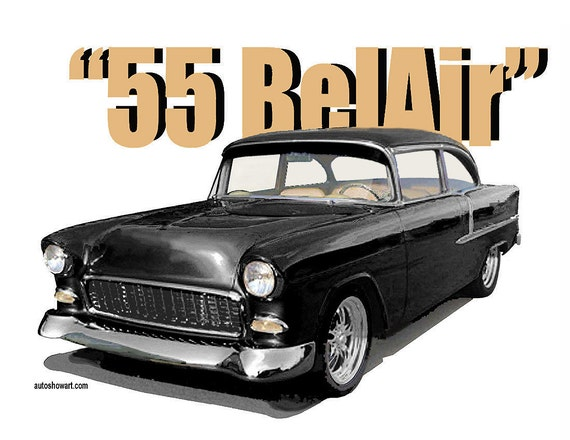 1955 Chevy Belair Post T Shirt Etsy