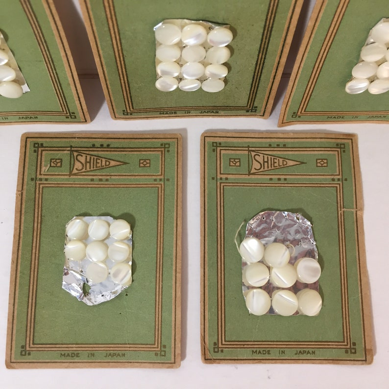 52 Vintage Mother Of Pearl Buttons for Wedding dresses Baby Clothes Altered Art Shank button Made In Japan