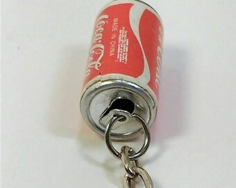 Vintage RARE 80's-90's Coca-cola soda can keychain Coke pop tab top easy open snap closure add keys collectible advertising