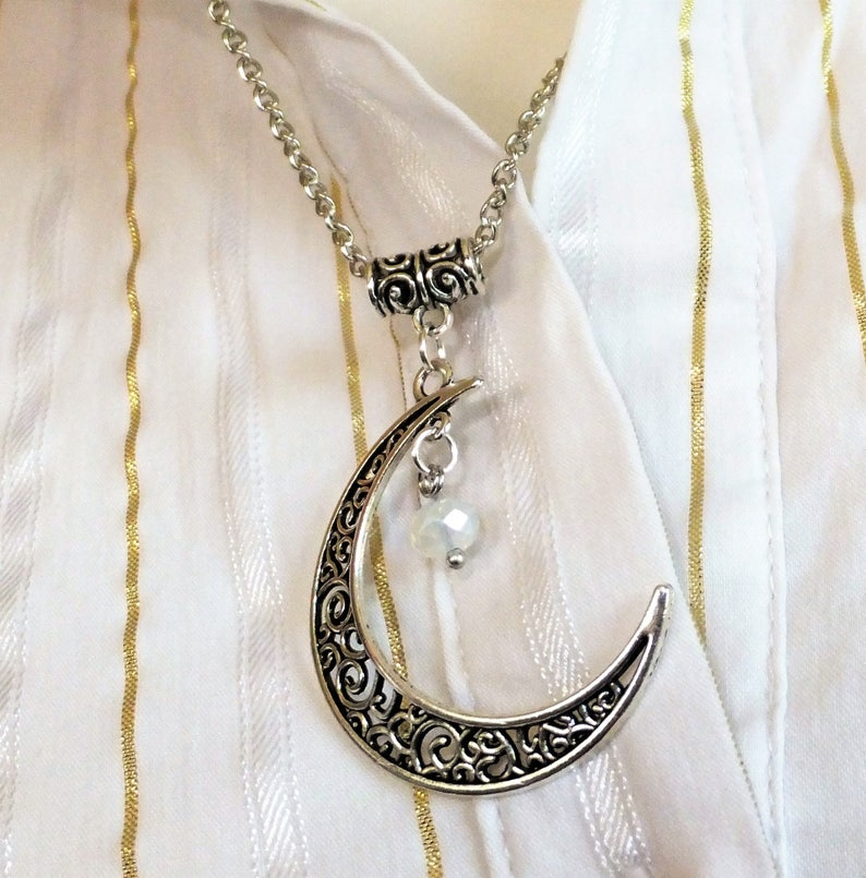 1dc53933d344c HANDMADE Necklace Crescent Moon Filigree Pendant with Crystal dangling  sparkling star Silver/Gold plated Choose your Crystal Color