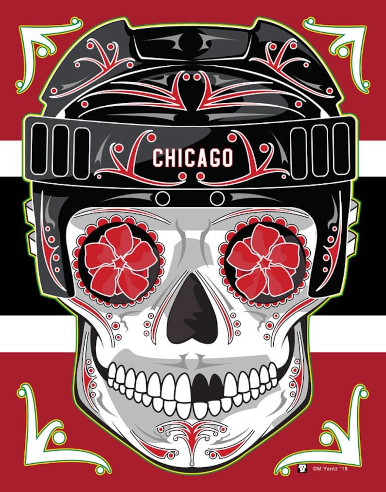 check out 162fb 2355a Chicago Blackhawks Sugar Skull Print 11x14 print