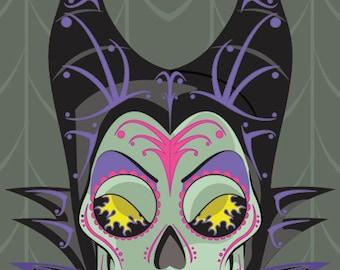 Maleficent Sugar Skull 11x14 print