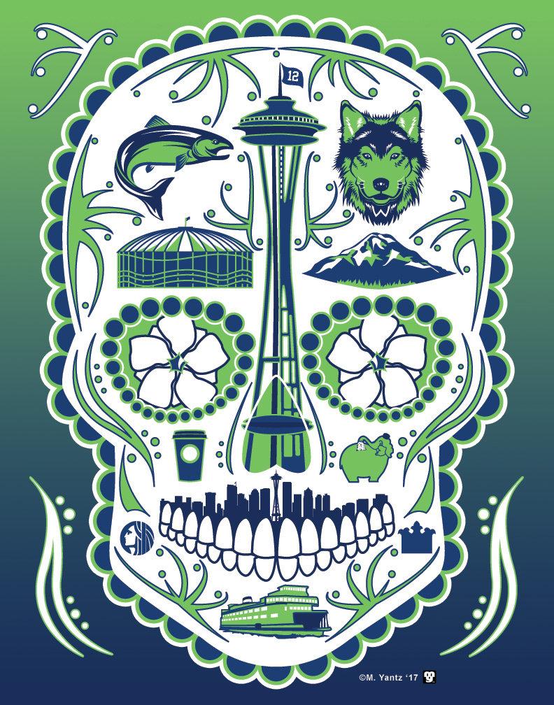 Historical Seattle Sugar Skull 11x14 Print | Etsy