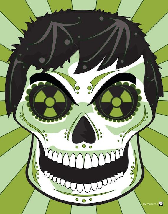 Hulk Sugar Skull Print 11x14 Print Etsy