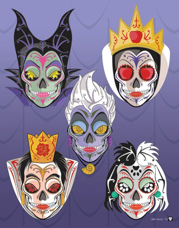 5 Disney Villains Sugar Skull Print 11x14 Print Etsy