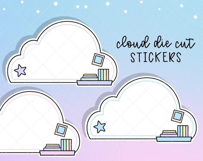 Jumbo Cloud Shelf Notes Sticker Decals - Pack of 3