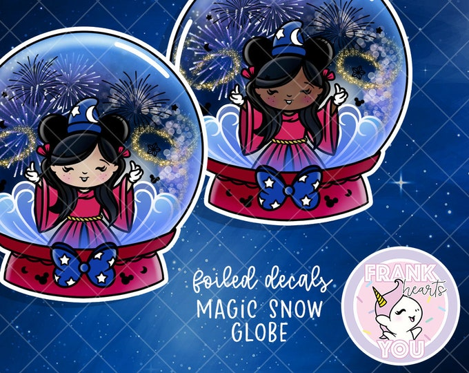 Magic Snow Globe - FOILED Sticker Decal - Sold Per Decal