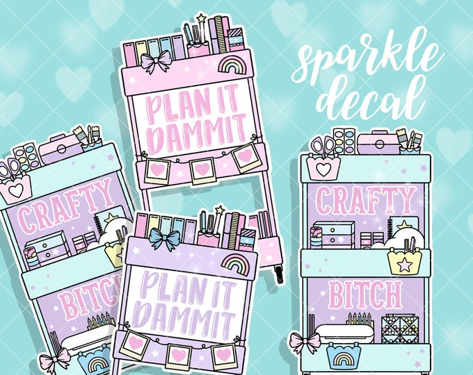 Planner Cart - Sparkle Overlay Decals - Pick Your Design! - Not Waterproof!