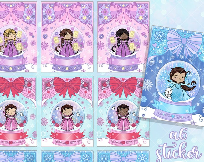 A6 FORMAT - Snow Globe Sticker - Personalized or Blank