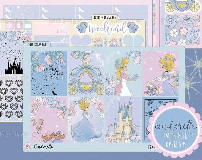 Cinderella 6-SHEET Format + Foil Overlay Sheet - Planner Sticker Set