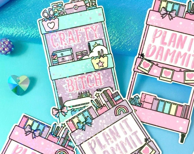 Sparkle Overlay Decal - Planner Carts - Pick Your Design! - Not Waterproof!