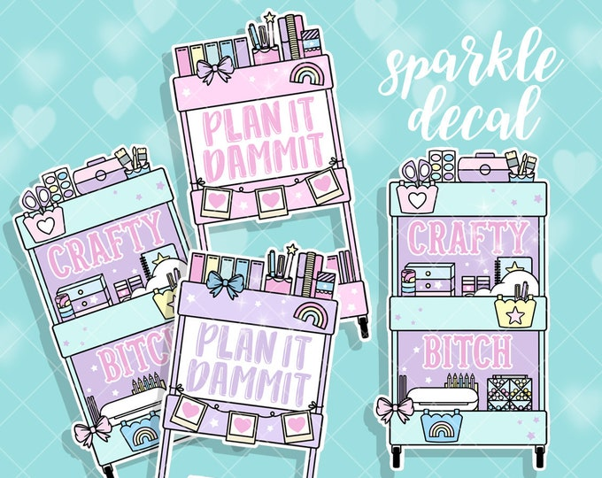 Planner Cart Sparkle Overlay Decals - Pick Your Design!
