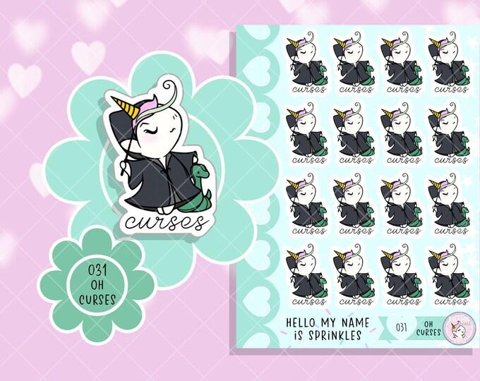 NEW! Oh Curses! - Sprinkles Lord V. Unforgivable Curses Planner Stickers - 031